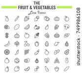 fruit and vegetables line icon... | Shutterstock .eps vector #749986108