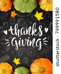 thanksgiving day. greeting card ... | Shutterstock .eps vector #749991580