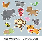 Stock vector big set isolated animals vector collection funny animals 749992798