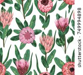 seamless pattern with protea... | Shutterstock .eps vector #749994898