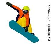 vector flat cartoon snowboarder ... | Shutterstock .eps vector #749998270
