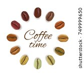 realistic coffee beans of...   Shutterstock .eps vector #749999650