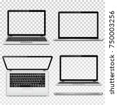 laptops with transparent screen ... | Shutterstock .eps vector #750003256