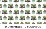 seamless pattern with cute... | Shutterstock .eps vector #750004903