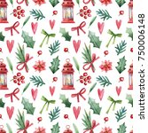 christmas seamless background. | Shutterstock . vector #750006148