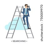 searching man dressed in formal ... | Shutterstock .eps vector #750009970