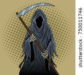 grim reaper pop art retro... | Shutterstock .eps vector #750011746