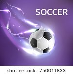 soccer ball poster design of 3d ... | Shutterstock .eps vector #750011833