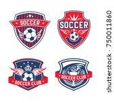 soccer club heraldic shield... | Shutterstock .eps vector #750011860