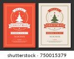 christmas party invitation... | Shutterstock .eps vector #750015379