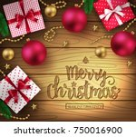 christmas decorative greeting... | Shutterstock .eps vector #750016900