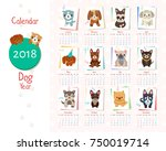 calendar dog year set of images ... | Shutterstock .eps vector #750019714