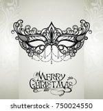 mask.merry christmas... | Shutterstock .eps vector #750024550