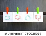 notes with drawn like and... | Shutterstock . vector #750025099
