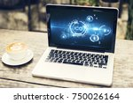 laptop with abstract ico... | Shutterstock . vector #750026164