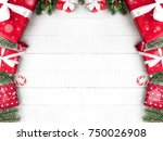 colorful christmas gift boxes... | Shutterstock . vector #750026908
