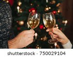 merry christmas and happy new... | Shutterstock . vector #750029104