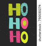 christmas hand draw greeting... | Shutterstock .eps vector #750030274