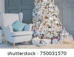 new year mood living room with... | Shutterstock . vector #750031570