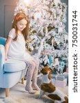 christmas family evening.... | Shutterstock . vector #750031744