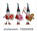 christmas elves with gifts ... | Shutterstock .eps vector #750033058