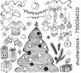 holiday collection. set of... | Shutterstock .eps vector #750036010