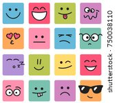 emotional square colorful faces | Shutterstock .eps vector #750038110