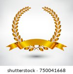 vector gold laurel wreath with... | Shutterstock .eps vector #750041668