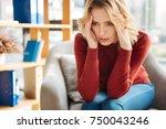 constant migraine. gloomy...   Shutterstock . vector #750043246