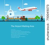 waiting room at the airport... | Shutterstock .eps vector #750045073