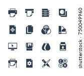 printing vector icon set in... | Shutterstock .eps vector #750049960