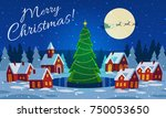 festive cozy decorated house or ... | Shutterstock .eps vector #750053650