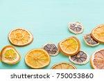 top view on handmade citrus... | Shutterstock . vector #750053860