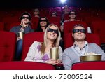 young people in 3d glasses in... | Shutterstock . vector #75005524