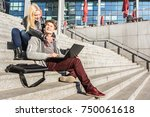 hipster couple having fun using ... | Shutterstock . vector #750061618