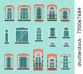 set of plastic or wooden window ... | Shutterstock .eps vector #750067684