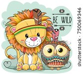 Stock vector cute cartoon tribal lion and owl with feather 750069346