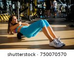 beautiful active sporty young... | Shutterstock . vector #750070570