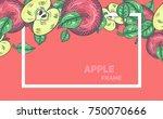 apples and green leaves frame ...   Shutterstock .eps vector #750070666