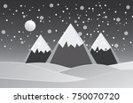 vector illustration snow forest.... | Shutterstock .eps vector #750070720