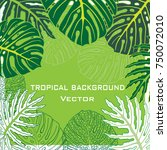 background with tropical leaves.... | Shutterstock .eps vector #750072010