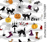 halloween seamless pattern with ... | Shutterstock . vector #750074389