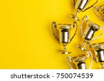 gold winners achievement trophy ... | Shutterstock . vector #750074539