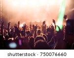cheering crowd with hands in... | Shutterstock . vector #750076660
