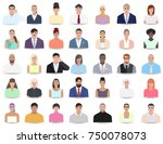 portraits of different people ... | Shutterstock .eps vector #750078073