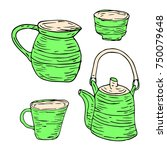 tableware set illustration.... | Shutterstock . vector #750079648