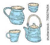 tableware set illustration.... | Shutterstock . vector #750079654