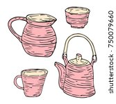 tableware set illustration.... | Shutterstock . vector #750079660