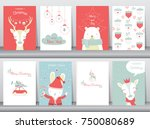 set of cute merry christmas ... | Shutterstock .eps vector #750080689