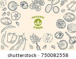 vegetables top view frame.... | Shutterstock .eps vector #750082558